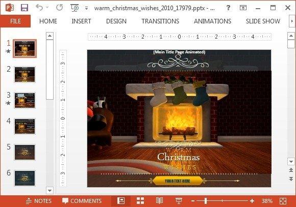 Warm christmas wishes powerpoint template toneelgroepblik Gallery