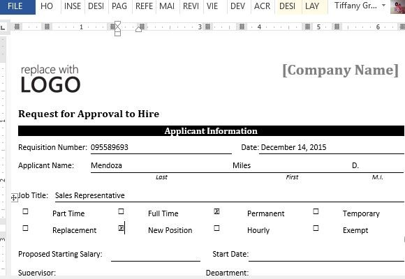 sample request form for approval to hire for word