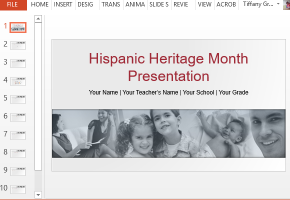 Hispanic heritage powerpoint template showcase your hispanic heritage with this template toneelgroepblik Choice Image