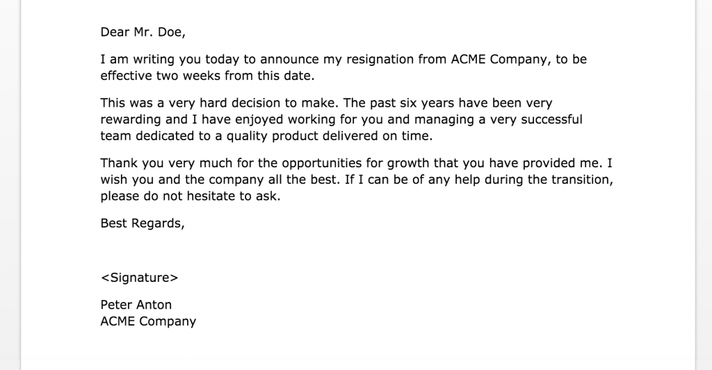 2 weeks notice letter of resignation