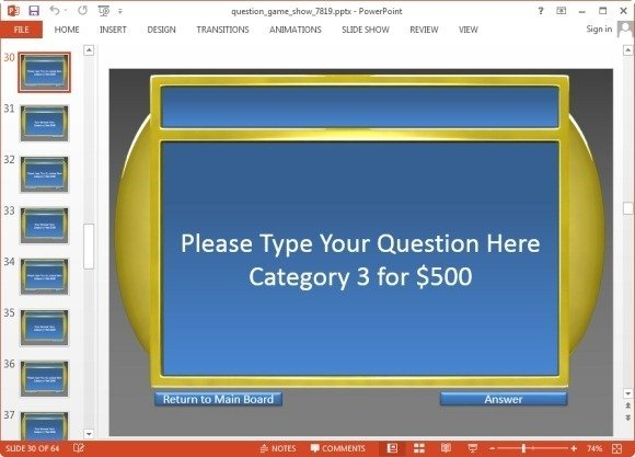 Animated jeopardy template for PowerPoint