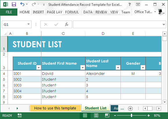 Monthly attendance sheet template