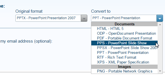 Convert powerPoint to other formats