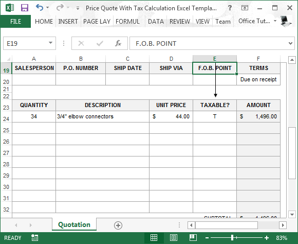Price Quote Impressive Price Quote With Tax Calculation Template For Excel