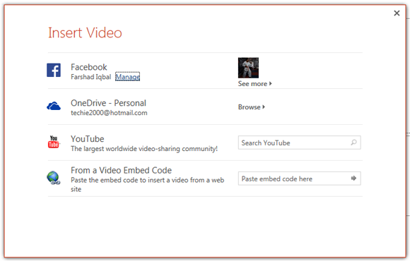 Insert Facebook and YouTube videos to PowerPoint