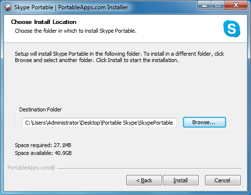 Install Skype to thumb drive