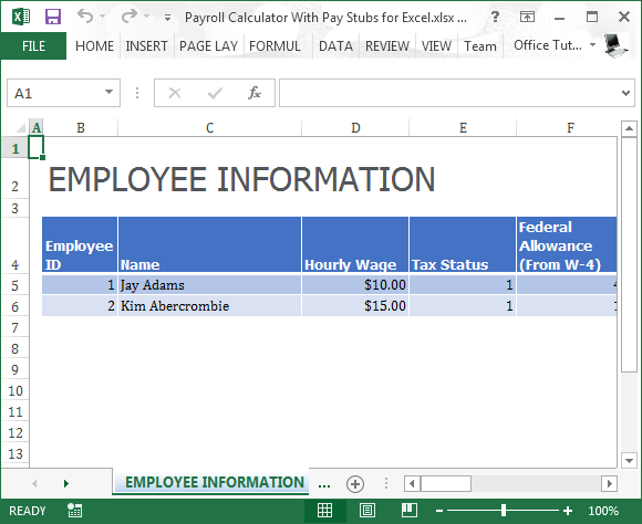 payroll calculator with pay stubs for excel fppt