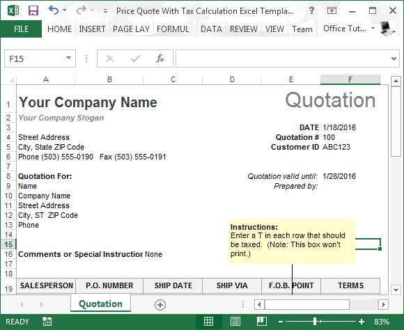 Price quote with tax calculation Excel template
