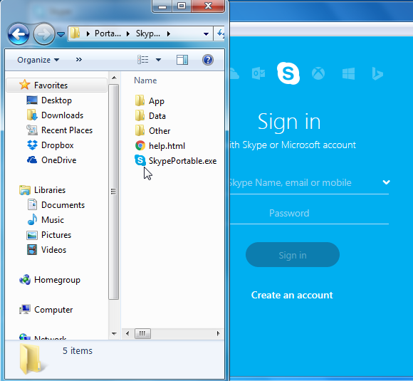Run Skype portable