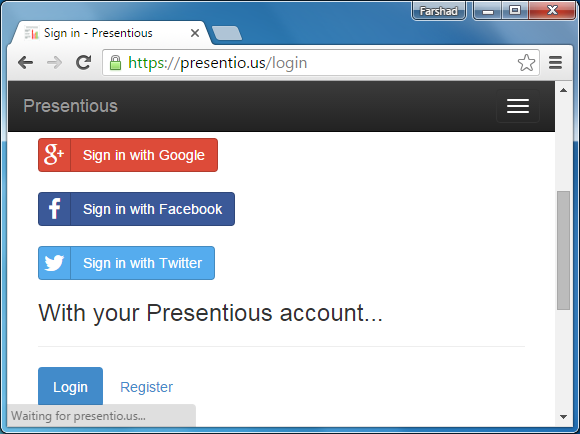 Sign up for Presentious