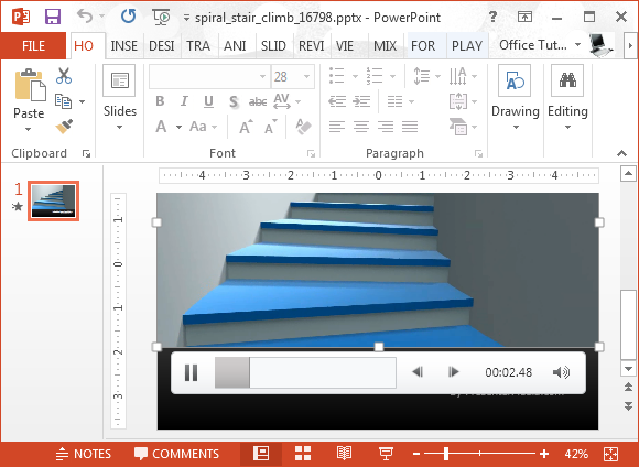Spiral stair climb video animation for PowerPoint