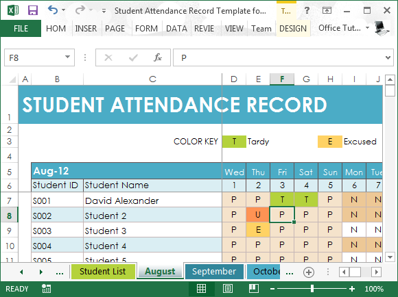 student attendance record template for excel. Black Bedroom Furniture Sets. Home Design Ideas