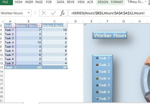 21st century donut chart template for excel for Table design ribbon in excel