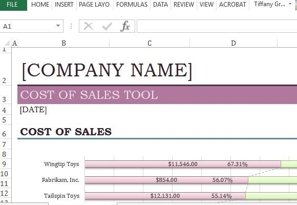 Cost Of Sales Tool Template