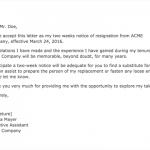 informal two weeks notice letter
