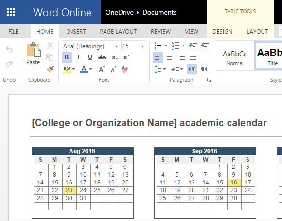 2016 2017 Academic Calendar Template For Word Online
