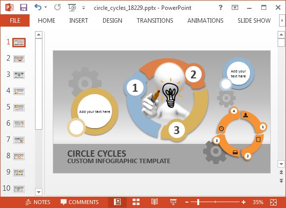 animated circle process cycle powerpoint template, Powerpoint templates