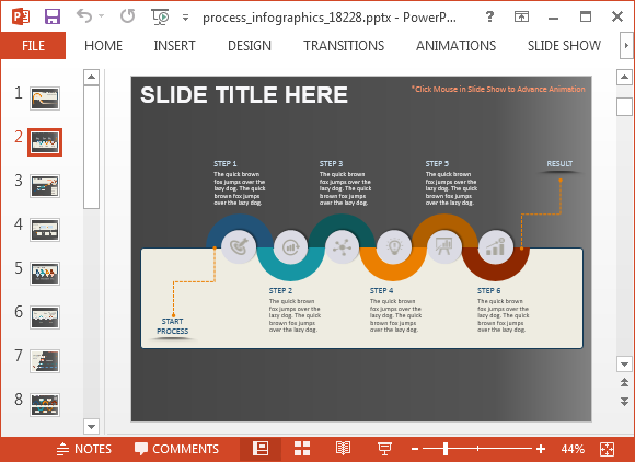 animated process infographics powerpoint template, Modern powerpoint