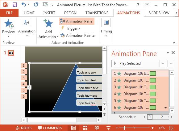 Change default picture list animations