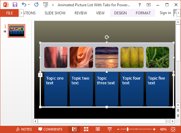 Free animated picture list template for PowerPoint