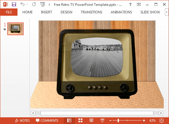 How to play video inside a tv image in powerpoint free retro tv powerpoint template toneelgroepblik Image collections
