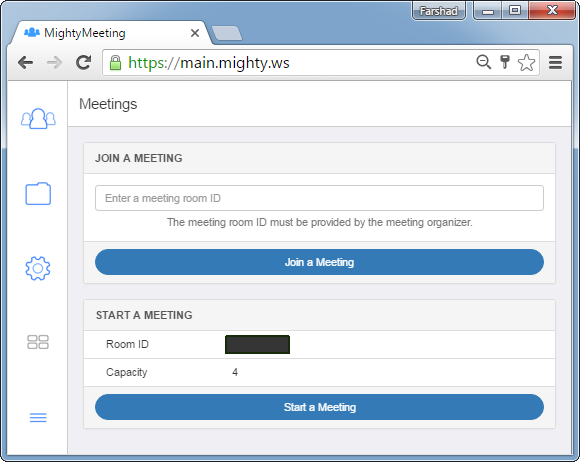 Join or start a meeting using MightyMeeting
