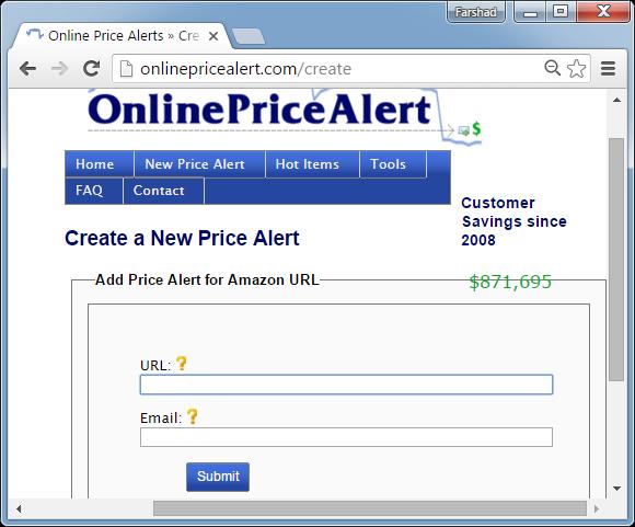 Online price alert for Amazon