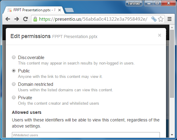 Privacy settings for Presentious presentation