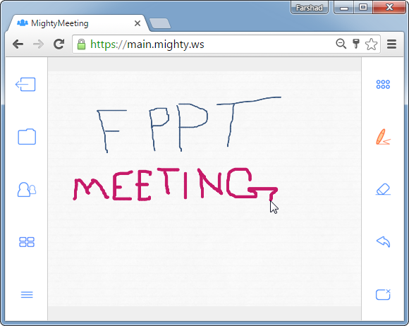 Whiteboard support for online meetings