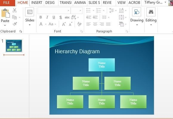 hierarchy diagram powerpoint template, Modern powerpoint