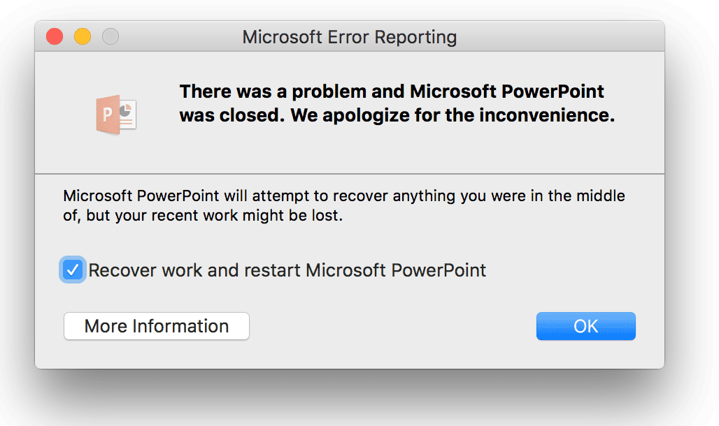 How to fix powerpoint crashing error when opening files on mac dialog box in mac showing the error message there was a problem and microsoft powerpoint was toneelgroepblik