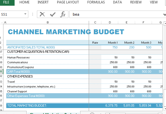 Professional And Cleanly Laid Out Channel Marketing Budget The Template For Excel