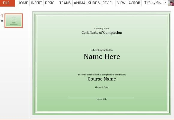 course completion certificate template for powerpoint