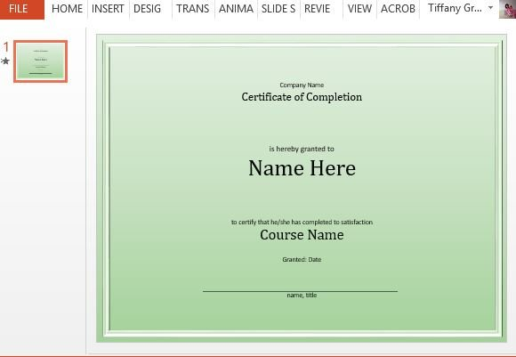 Completion Certificate Template for PowerPoint