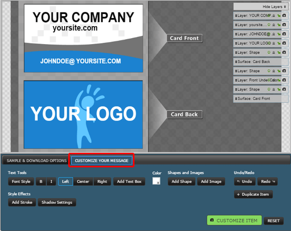 Add logo to business card clipart