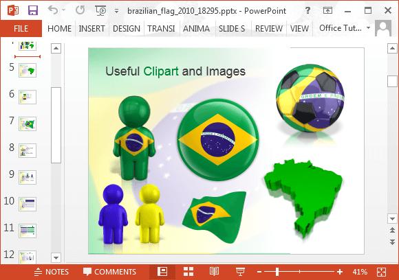 animated brazil powerpoint template, Presentation templates