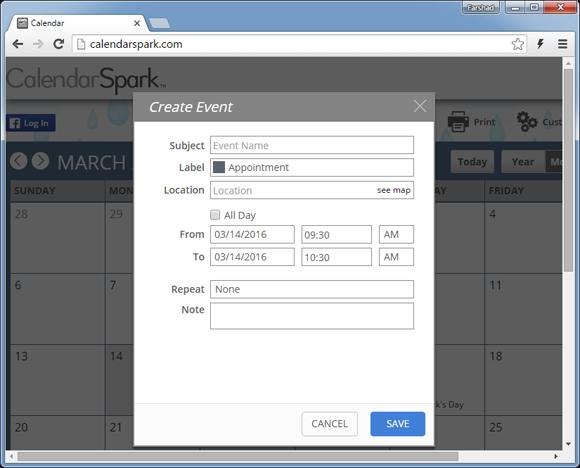 Create calendar event