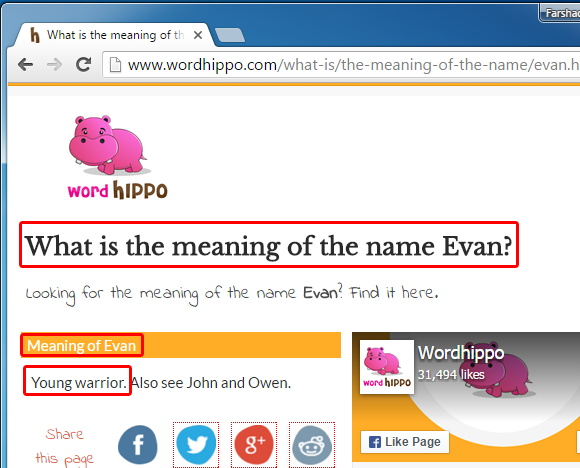 Find meanings for names