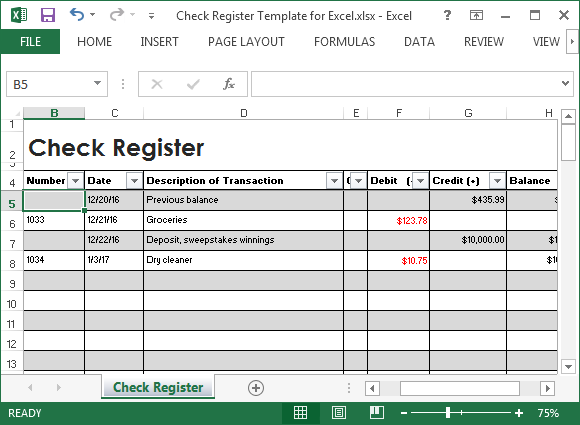 free check register excel template
