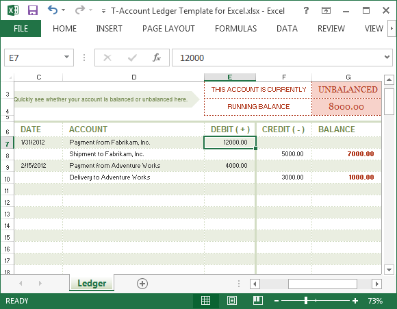 Ledger account template for Excel