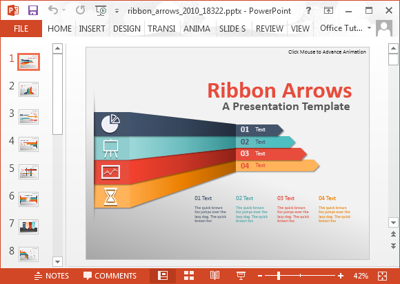 animated ribbon arrows infographic powerpoint template, Modern powerpoint