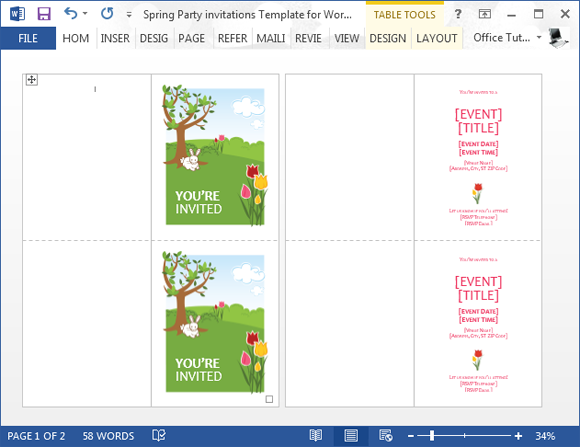 Spring Party Invitation Template For Microsoft Word  Microsoft Word Birthday Invitation Templates