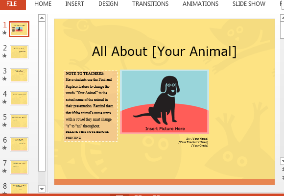 Animal Report Presentation Template For Students And Teachers