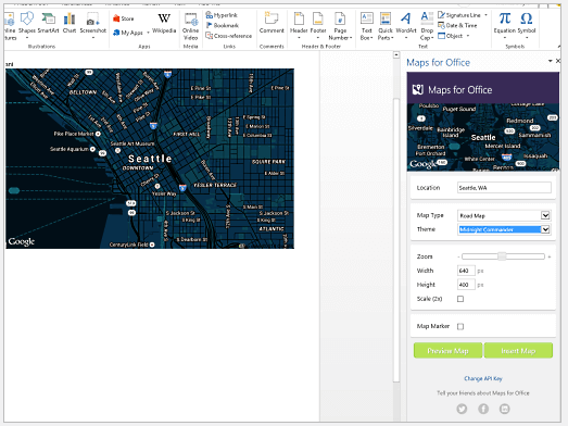 Add map in Word 2013