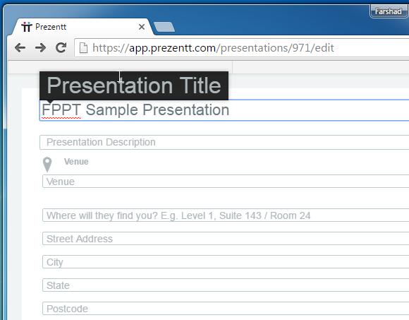 Add presentation details