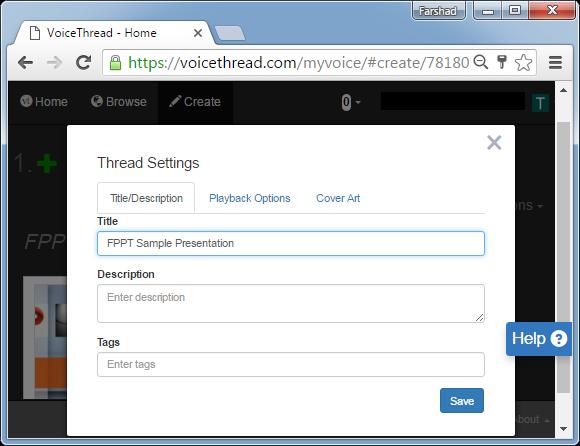 Add presentation title, description an playback options