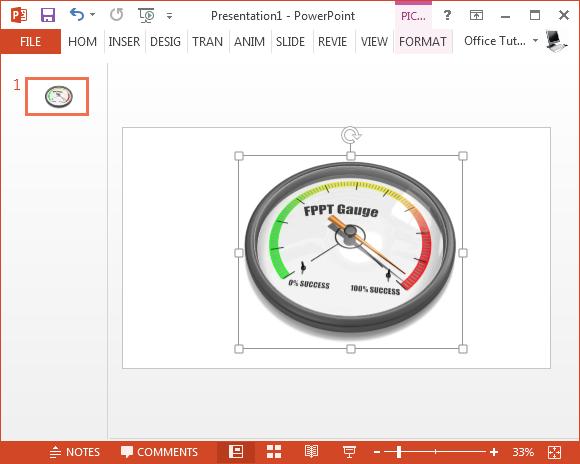 Animated maximum success gauge for PowerPoint