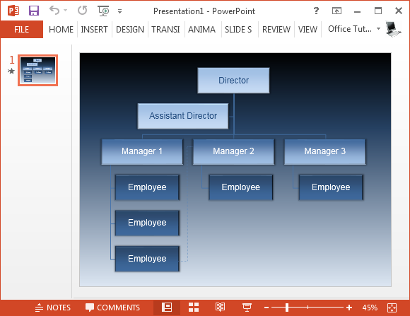 animated vertical organizational chart powerpoint template - Organizational Chart Free Software