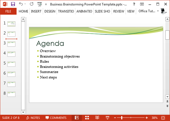free business brainstorming powerpoint template, Modern powerpoint