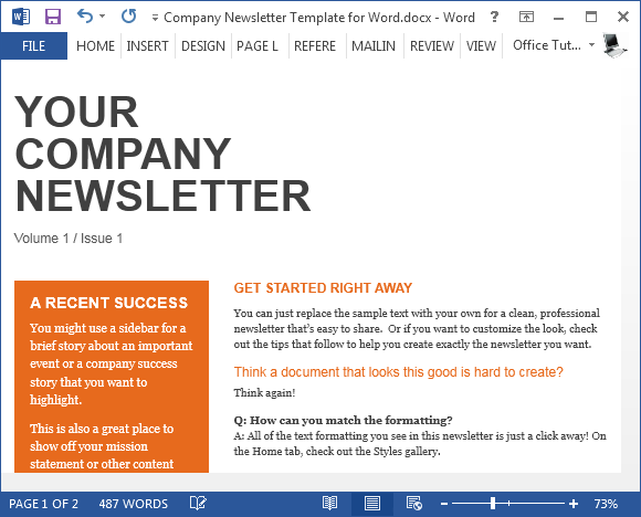 Elegant Company Newsletter Template For Word